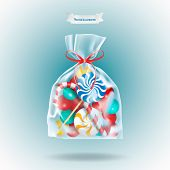 Traditional Sweets Candies Lollipop And Candy Cane Packed In A Transparent Sachet Package With A Red poster
