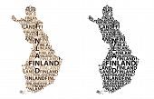Sketch Finland Letter Text Map, Republic Of Finland - In The Shape Of The Continent, Map Finland - B poster