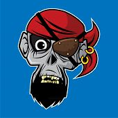 Design Of The Zombie Head Character - Pirate Zombie poster