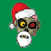 Design Of The Zombie Head Character - Santa Claus Zombie poster
