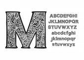 Ornate Decorative Vector Font. Monogram Handdrawn Letters. poster