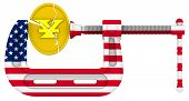 Usa Sanctions Pressure On The Chinese Economy. Concept. Gold Coin With The Symbol Of The Chinese Yua poster