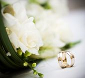wedding bouquet and rings