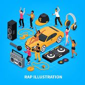 Rap Isometric Vector Illustration With Singers Performers Sound Amplifier Headphones Radio Tape Reco poster