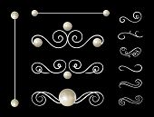 Vector Pearl Jewelry Dividers, Decorations Set, Elegant Gemstones, Filigree Collection. poster