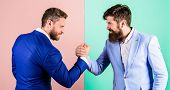 Business Partners Competitors Office Colleagues Tense Faces Ready To Compete In Arm Wrestling. Busin poster