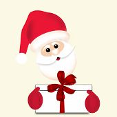 Santa Claus Holding Giftbox With Red Ribbon Bow - Christmas Background, Minimalistic Style Illustrat poster
