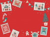 Festive Christmas Border, Frame With Christmas Tree And Festive Decorations Garland, Sock, Stamps. C poster