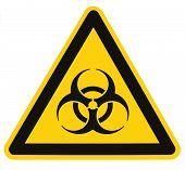 stock photo of biological hazard  - Biohazard symbol sign of biological threat alert isolated black yellow triangle signage macro - JPG