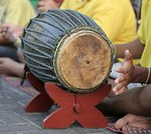 picture of musical instruments  - playing bongos on the street - JPG
