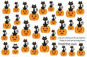 Find Owl Among Cats On Pumpkins, Halloween Fun Education Puzzle Game For Children, Preschool Workshe poster