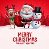 Merry Christmas Greeting With Christmas Vector Characters. Santa Claus, Reindeer And Snowman Carryin poster