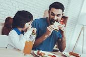 Delisious Food. Sandwich. Happy Together. Having Breakfast. Man. Spends Time. Son. Father Of Boy. En poster