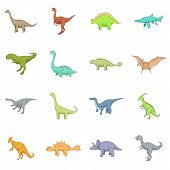 Different Dinosaurs Icons Set. Cartoon Illustration Of 16 Different Dinosaurs Icons For Web poster