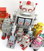 large group of robot toys