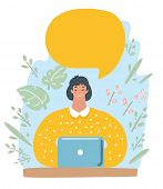 Vector Illustration Character Design Business Woman Happy Working With Speech Bubble. Female Charact poster