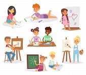 Artist Vector Kids Children Painting Making Art Creative Young Artist With Brushes And Paint School  poster
