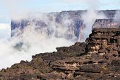 image of canaima  - Mount Roraima landscape  with clouds background - JPG