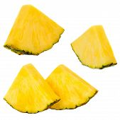 Sliced Pineapple. Ananas Fruit  Isolated On White Background. Fresh Pineapple Closeup. poster
