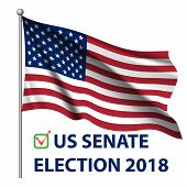 2018 United States Elections. Us Midterm Elections 2018: The Race For Congress. Symbol Of Republican poster