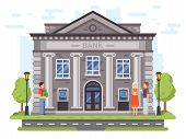 Banking Operations. Bank Building Facade With Columns. People Carry Money To Banks, Use Atm And Send poster