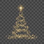 Christmas Tree On Transparent Background. Gold Christmas Tree As Symbol Of Happy New Year, Merry Chr poster