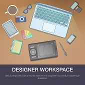 Designer Workspace Concept. Cartoon Illustration Of Designer Workspace Concept For Web poster