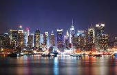 Mordern city night scene. New York City Times Square Manhattan Skyline at night panorama over Hudson