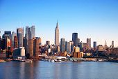 picture of new york skyline  - New York City Skyline over Hudson river with boats and skyscrapers - JPG
