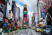 NEW YORK CITY, NY - SEP 5: Times Square is featured with Broadway Theaters and LED signs as a symbol