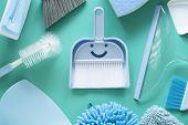 House Cleaning Product On Green Table Background, Smile Product For Cleaning House Concept poster