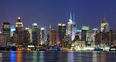 New York City Manhattan midtown skyline panorama at dusk with historical landmark skyscrapers over Hudson River viewed from New Jersey Weehawken waterfront. poster