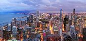 pic of willy  - Chicago skyline panorama aerial view with skyscrapers over Lake Michigan with cloudy  sky at dusk - JPG