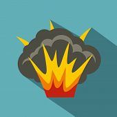 Projectile Explosion Icon. Flat Illustration Of Projectile Explosion Icon For Web poster