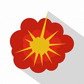 Cloudy Explosion Icon. Flat Illustration Of Cloudy Explosion Icon For Web poster