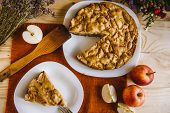 Homemade Apple Pie. A Piece Of Dessert, Apple Pie On A Plate. Dessert Ready To Eat. Flat Lay Food Ba poster
