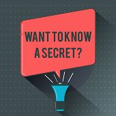Text Sign Showing Want To Know A Secret Question. Conceptual Photo To Divulge A Confidential Vital I poster