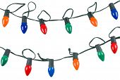 picture of christmas lights  - two strings of christmas lights isolated on white - JPG