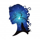 Double Exposure Silhouette Of Beautiful Woman With Shadow Of Wolf In The Night Forest, Crescent Moon poster