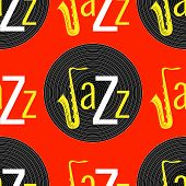 Jazz Concept. Vinyl Record And The Word Jazz. Letter J - Saxophone. Seamless Pattern. White, Black A poster