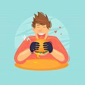 Guy Eat Burger Fastfood. Hungry Man. Flat Design Vector Illustration poster