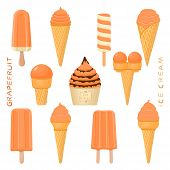 Vector Illustration For Natural Grapefruit Ice Cream On Stick, In Paper Bowls, Wafer Cones. Ice Crea poster