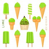 Vector Illustration For Natural Lime Ice Cream On Stick, In Paper Bowls, Wafer Cones. Ice Cream Cons poster