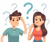 Young Troubled Couple. Confused Woman And Man Thinking Together. People With Question Marks Vector I poster