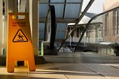 Sign Showing Warning Of Caution Wet Floor poster