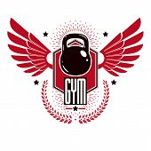 Bodybuilding Weightlifting Gym Logotype Sport Template, Vintage Style Vector Emblem With Wings. With poster