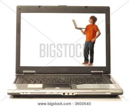 Boy Holding Computer On Laptop Monitor