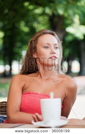 beautiful girl has a rest in street cafe in park