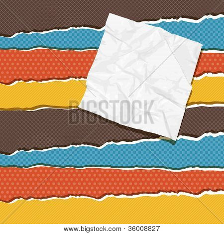 Torn scrach paper vintage bacground. Vector texture.