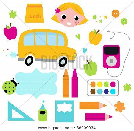 Back To School Accessories Set Isolated On White